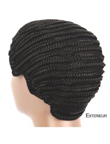 Le bonnet tressé permet de poser vos tissages ou nattes au crochet sans abîmer vos cheveux.