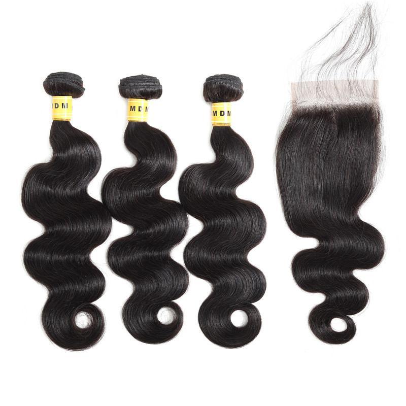 Cheveux brésiliens body wave lot de 3 mèches avec closure