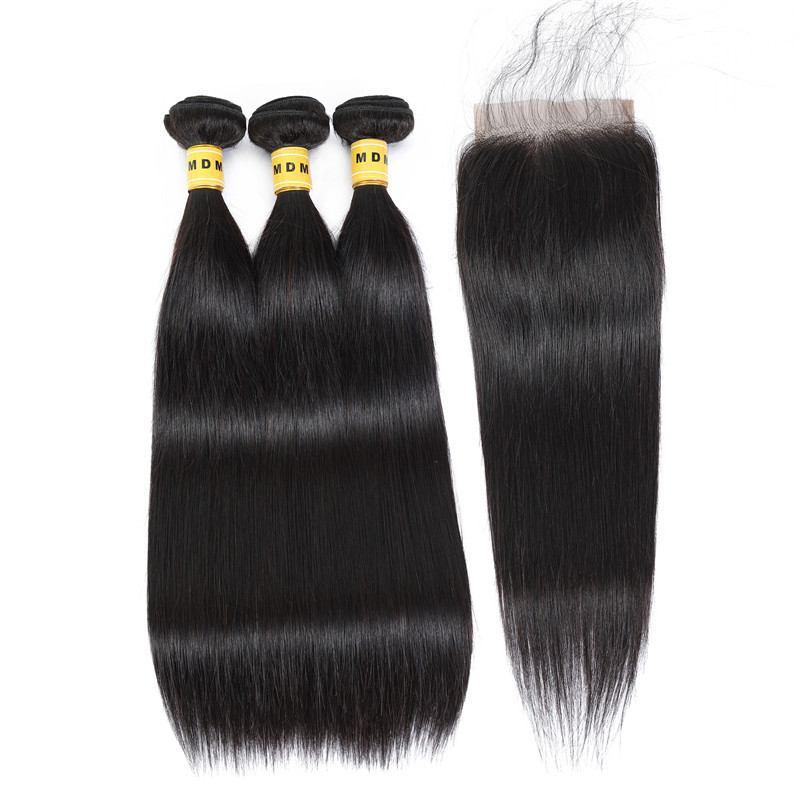 Tissage cheveux naturels Lot 3 mèches bresiliennes avec closure lisse