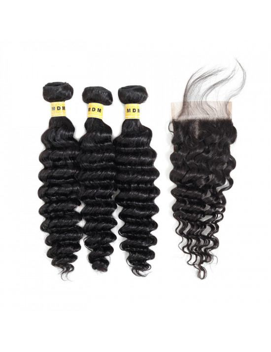 Cheveux bresiliens deep wave lot 3 mèches avec closure