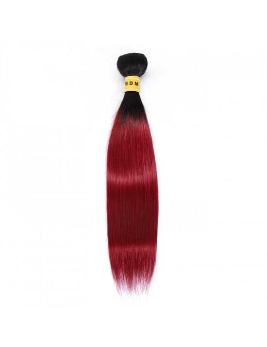 Tissage ombré rouge cheveux naturels 100% remy