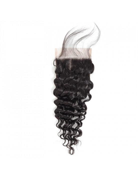 Lace closure tissage gaufré deep wave de 100% cheveux naturels remy