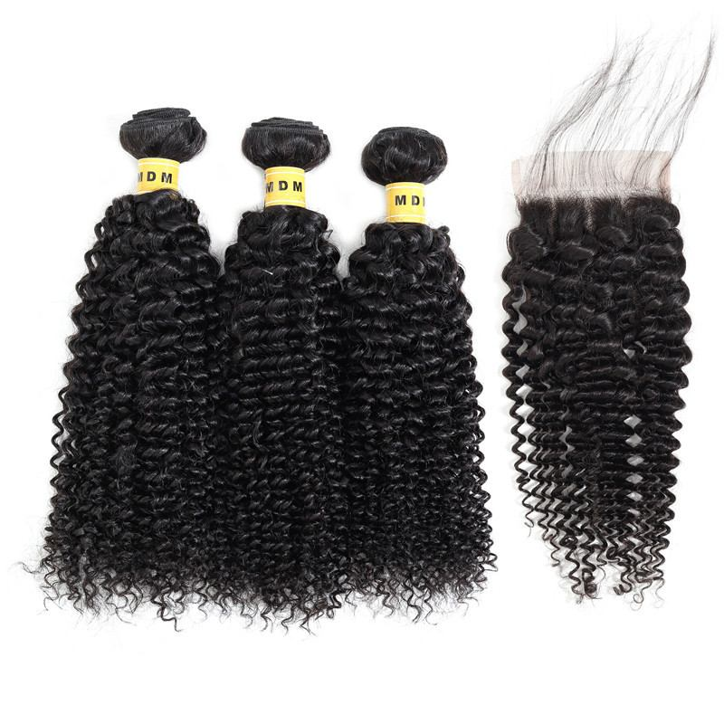 Lot 3 mèches naturelles Kinky Curly Avec Closure