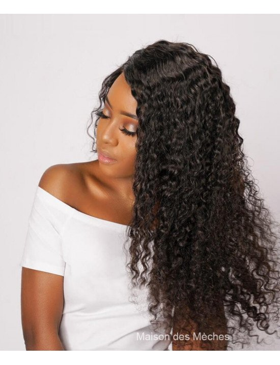 Perruque brésilienne deep wave en cheveux naturels
