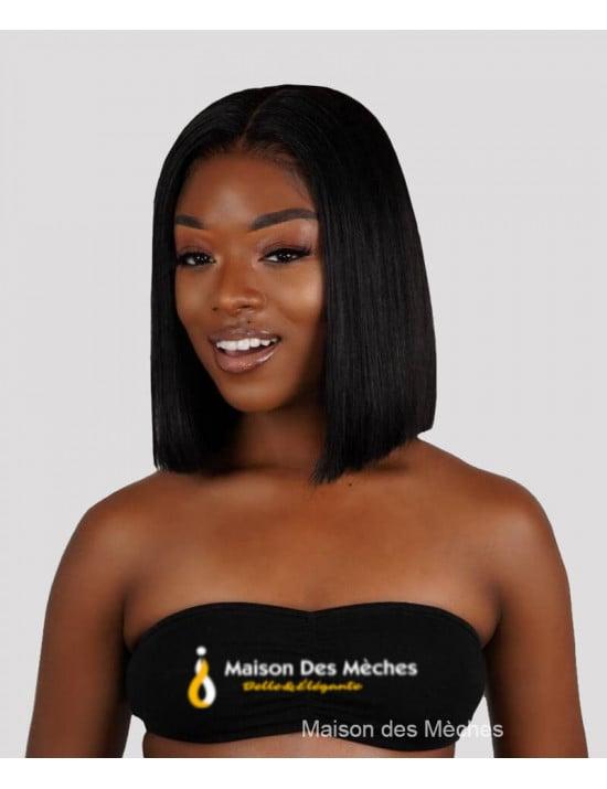 Perruque lace wig bob lisse 100% cheveux naturels