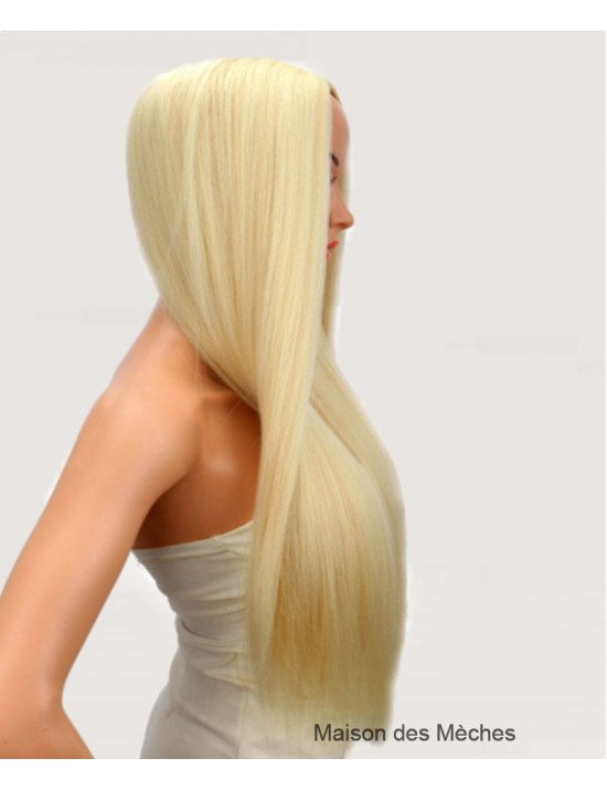 Perruque blonde platine longue 100% naturelle